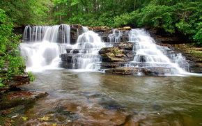 лес, река, водопад, каскад, деревья, скалы, пейзаж