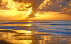 mare, puntellare, cielo, nuvole, tramonto