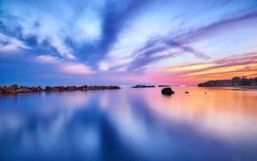 водоем, закат, отражение, вечер