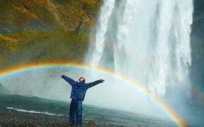 cascada, arco iris, hombre, positivo