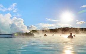водоем, пар, купание, источник, люди