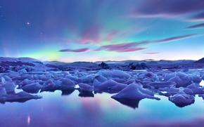 Islândia, gelo, geleira, céu, noite