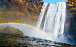 водопад, радуга, позитив