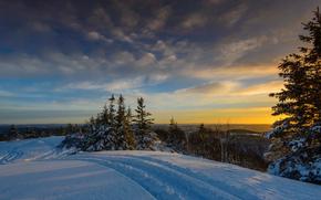 sunset, winter, snow, drifts, landscape