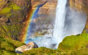водопад, радуга, камни