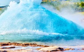 géiser, fonte, lagoa, Islândia