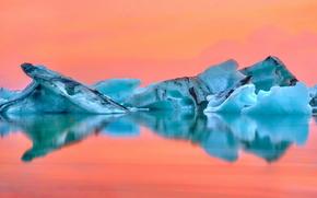 Islândia, gelo, geleira, lagoa, reflexão