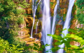 водопад, зелень, камни, лето