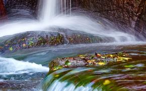 водопад, камни, осень