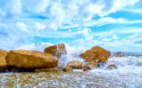 sea, stones, sky, clouds, spray, waves