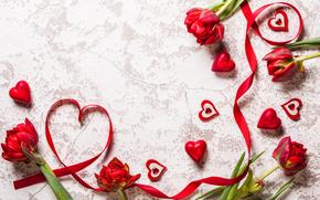 Valentine, TULIPS, Flowers, hearts