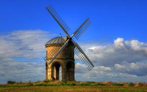 Честертон ветряная мельница, Уорикшир, Великобритания, Chesterton Windmill, Warwickshire, UK, поле, мельница, пейзаж