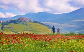 Италия, горы, поле, небо, цветы, мак, люди