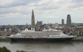 Antwerpia, Belgia, Skalda rzeki, Antwerpia, Belgia, Rzeka Skalda, cruise liner, Liniowiec, rejs, miasto