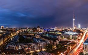 Berlino, Berlino, capitale, Deutschland, Germania, Germania, città, panorama, notte, domestico, costruzione, Torre della TV, stradale, luci