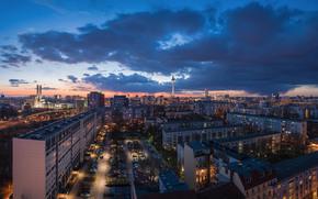 Berlín, Berlín, capital, Deutschland, Alemania, Alemania, ciudad, panorama, luces