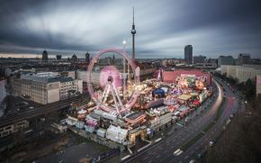 柏林, 柏林, 资本, 德国, 德国, 德国, 城市, 全景, 夜, 家, 建筑, 电视塔, 道路, 灯火