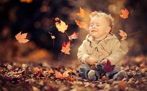 boy, baby, foliage, autumn, mood