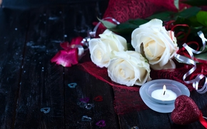 Valentine, White roses, Roses, Flowers, candle, hearts, heart