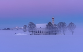 Sankt Coloman, Schwangau, Bavaria, Germany, Alps, Церковь Святого Кальмана, Швангау, Бавария, Германия, Альпы, церковь, горы, зима, снег, дымка, деревья