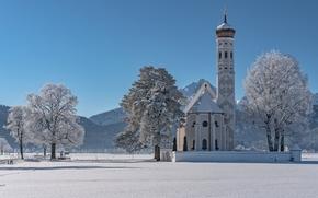 Sankt Coloman, Schwangau, Baviera, Germania, Alpi, Chiesa del Santo Kalman, Schwangau, Bayern, Germania, Alpi, chiesa, Montagne, alberi, inverno