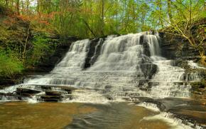 водопад, скалы, река, лес, деревья, природа