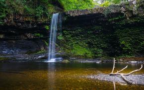 cascada, Rocas, río, bosque, árboles, naturaleza