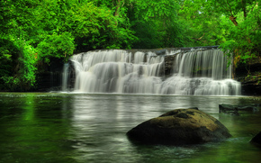 waterfall, Rocks, river, forest, trees, nature
