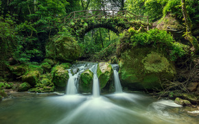 river, forest, trees, waterfall, bridge, arch, Rocks, landscape, Switzerland Luxembourg