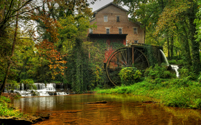 small river, autumn, water mill, waterfall, trees, landscape