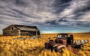 поле, руины, дом, заброшенный автомобиль, небо, пейзаж