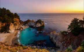 McWay Falls, Julia Pfeiffer Burns State Park, California's Big Sur region, закат, море, берег, водопад, пейзаж