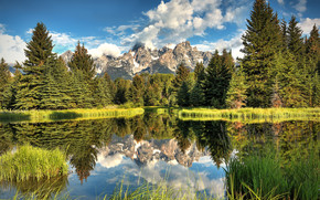 Grand Tetons National Park, Wyoming, Mountains, trees, landscape
