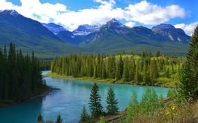 Río Bow, Canadá, Montañas, río, HIERRO, carretera, paisaje