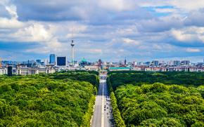 берлин, германия, здания, дорога, дома, город