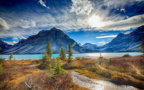 Alberta, Banff National Park, Bow Lake, Canada, закат, озеро, горы, пейзаж