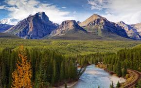 Fiume Bow, Canada, Montagne, fiume, FERRO, stradale, paesaggio