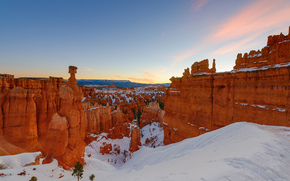 Bryce Canyon National Park, Panguich Utah, закат, скалы, горы, пейзаж, зима