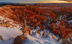 Bryce Canyon National Park, Panguich Utah, sunset, Rocks, Mountains, landscape, winter