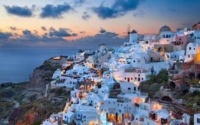 Grecia, Santorini, Egeo Meridionale, Oia, tramonto, domestico, Santorini