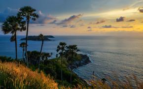 tramonto, mare, Sud della Thailandia, Isole, paesaggio