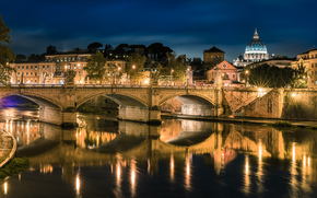 Rome, Ponte Vittorio, city, night, bridge