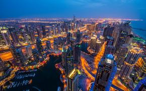 ドバイ, アラブ首長国連邦, ドバイ, UAE, 街のナイトライフ, 建物, 高層ビル, パノラマ