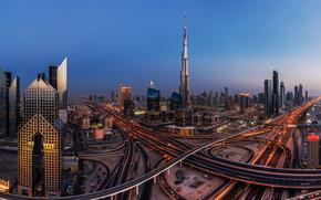 Dubai, UAE, Дубай, ОАЭ, ночной город, здания, небоскрёбы, панорама