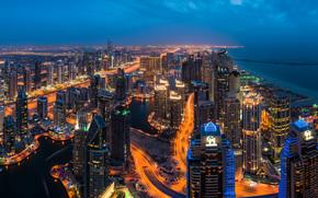 Dubai, Emirati Arabi Uniti, Dubai, UAE, la vita notturna della città, costruzione, Grattacieli, panorama