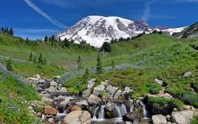 Mt. Rainier, Montagne, Colline, cascata, pietre, paesaggio