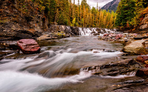 Glacier National Park, Montana, river, waterfall, Rocks, stones, landscape
