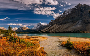 Bow Lake, Banff National Park, lake, Mountains, landscape