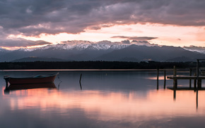 pond, boat, Mountains, evening, clouds