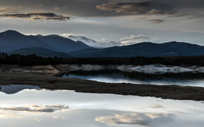 Mountains, pond, clouds, gloomily